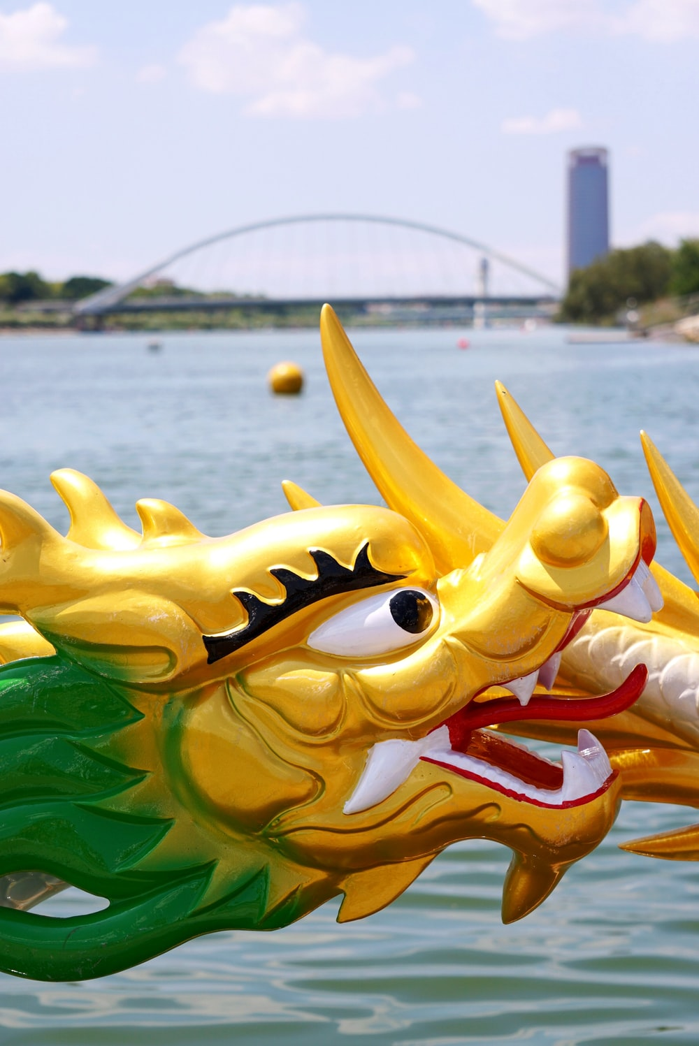 yellow and green dragon statue