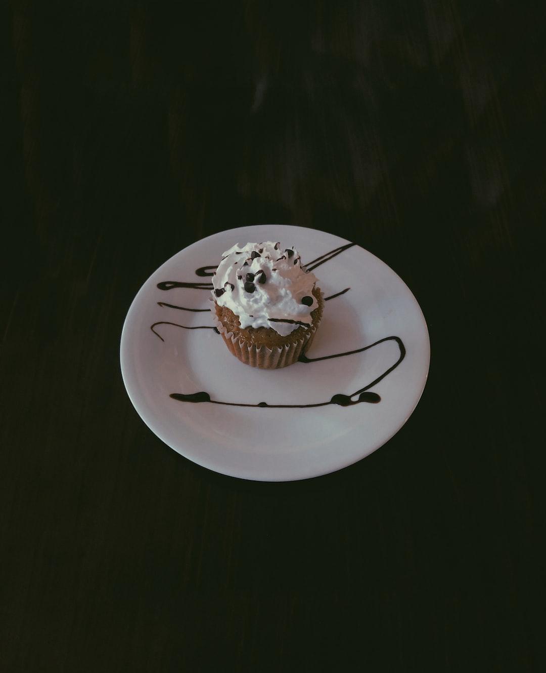 Banana cupcake in a quaint cafe.