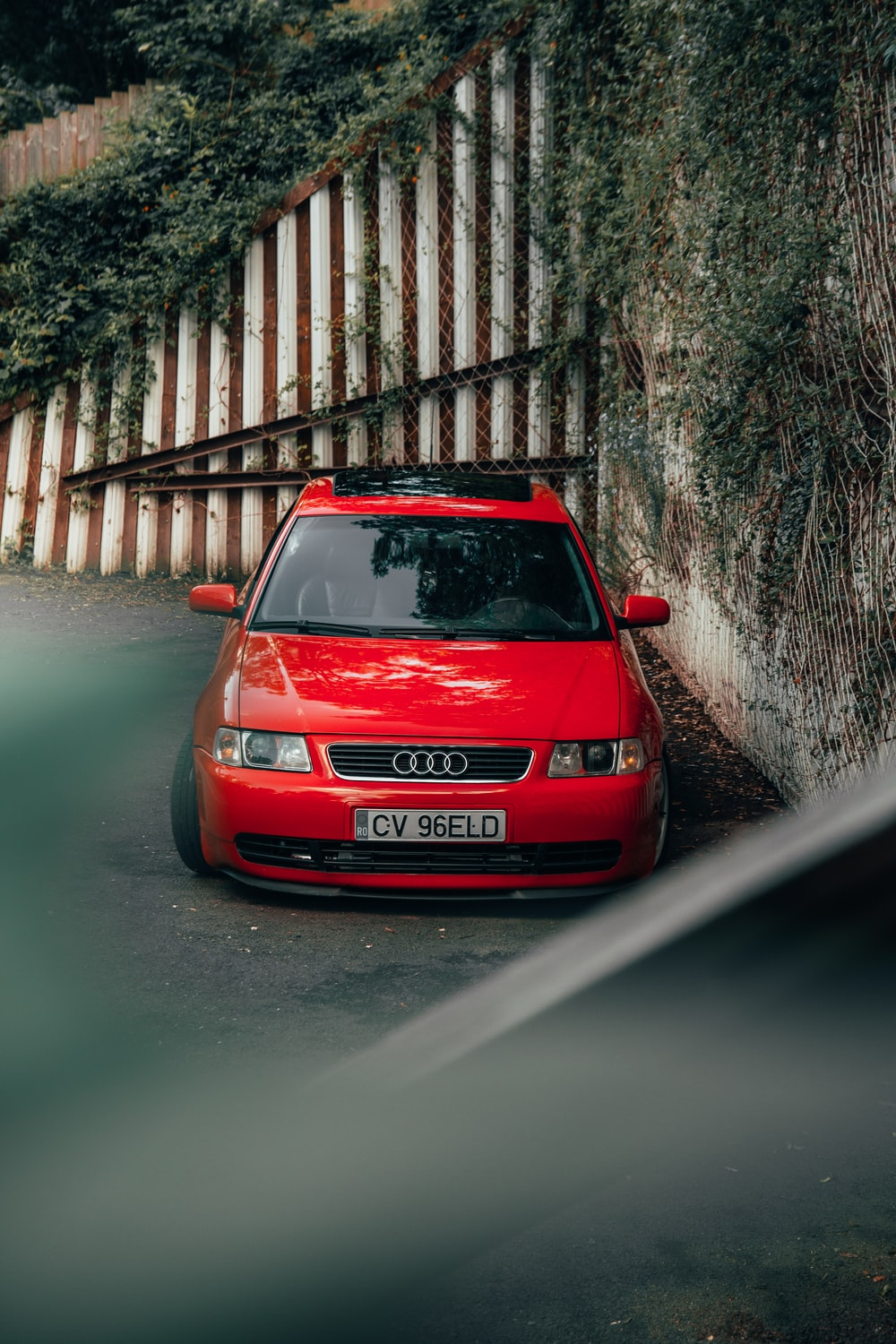 red Audi vehicle on road close-up photography