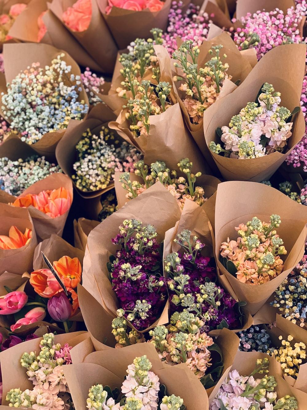 assorted-color flower bouquet lot