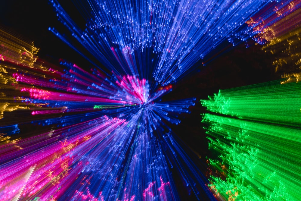 blue, pink, and green lights