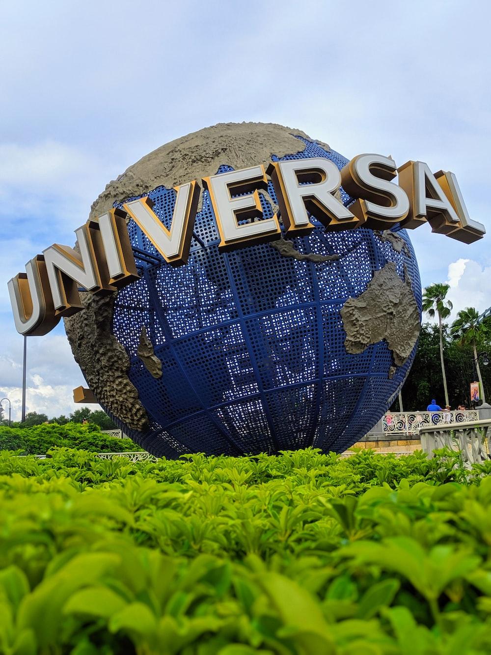 Universal globe on plant field