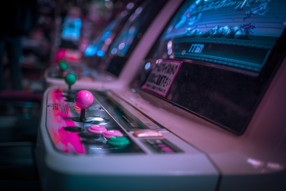 turned-on arcade machines