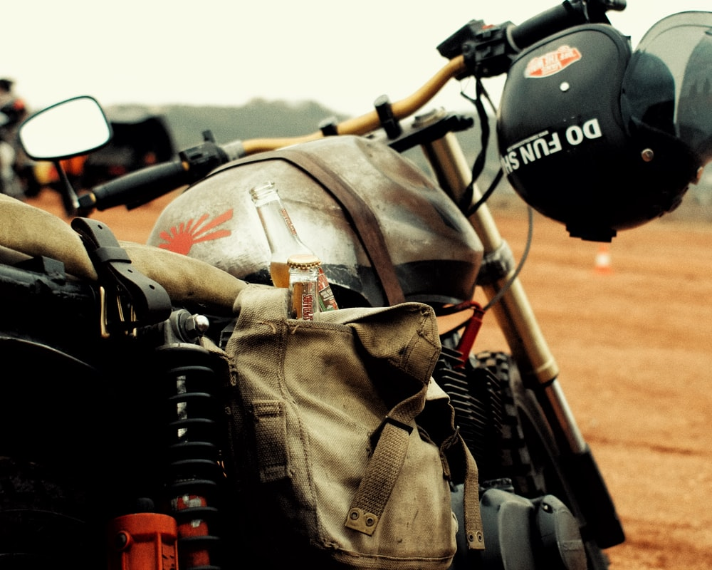 motorbike with helmet close-up photography