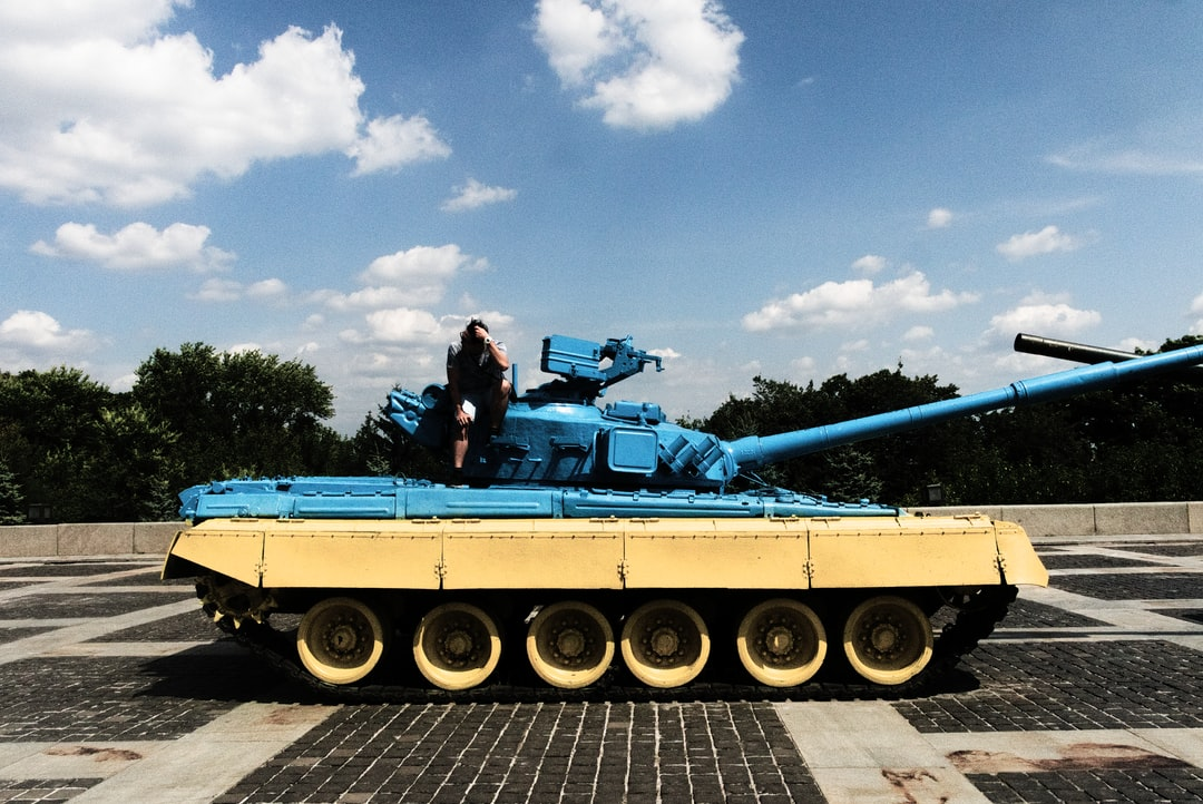"""Ukraine coloured tank in the """"Mother of the Motherland""""."""
