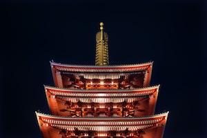 Asakusa temple in Japan during night time