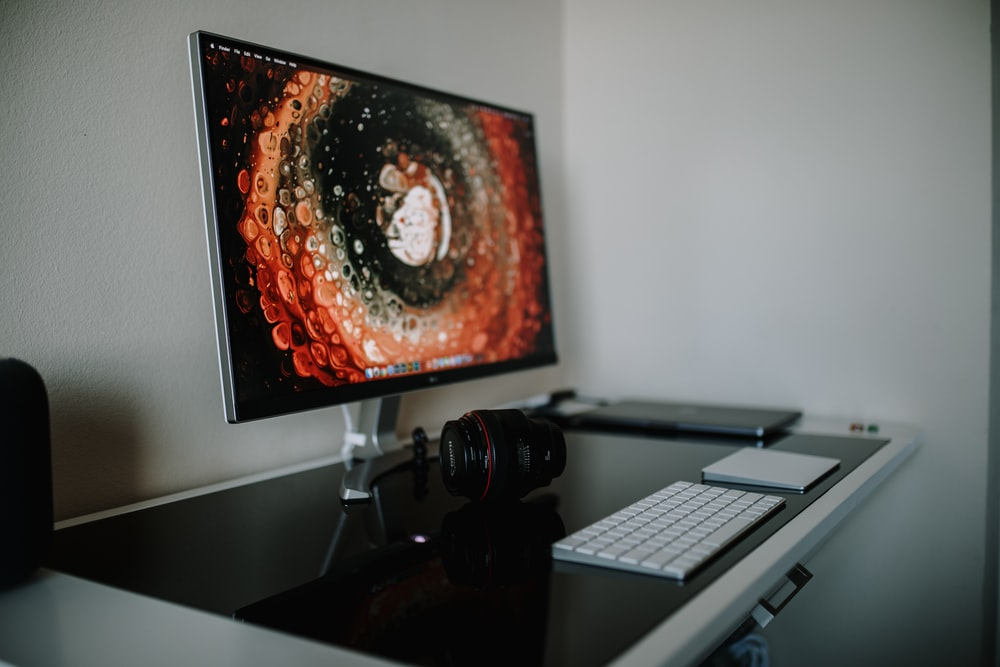 turned on flat screen monitor