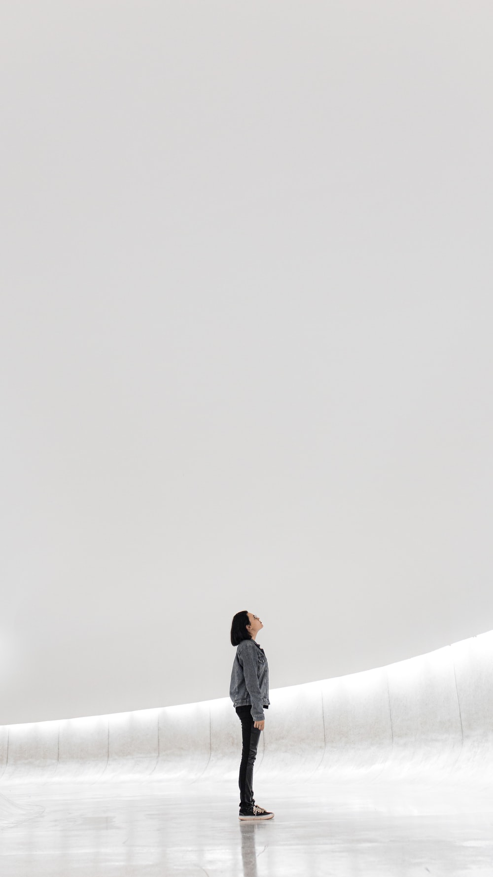 woman standing on ice