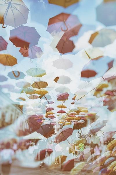 umbrella, rain, city, street