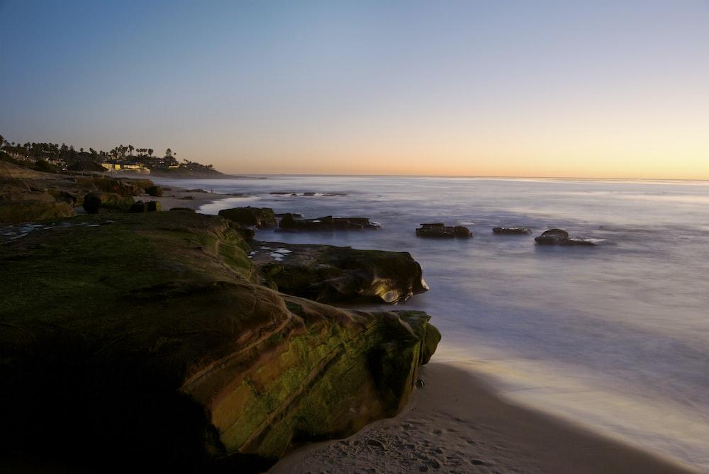 rocks on beach line