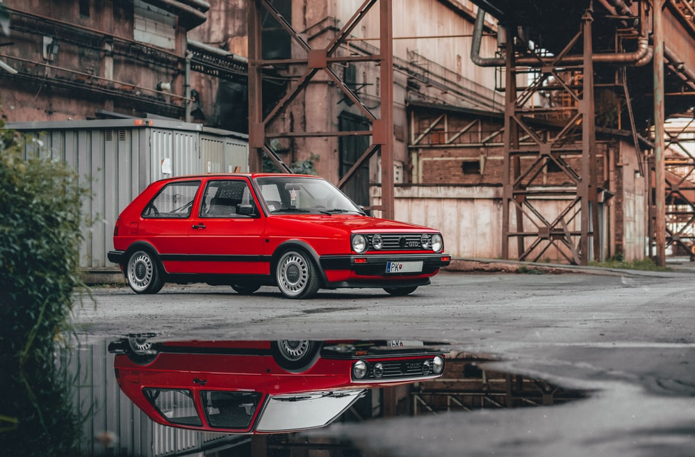 red 5-door hatchback