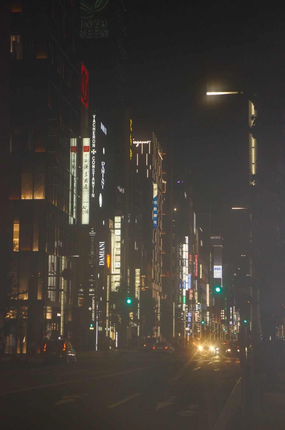 photo of high-rise buildings at night