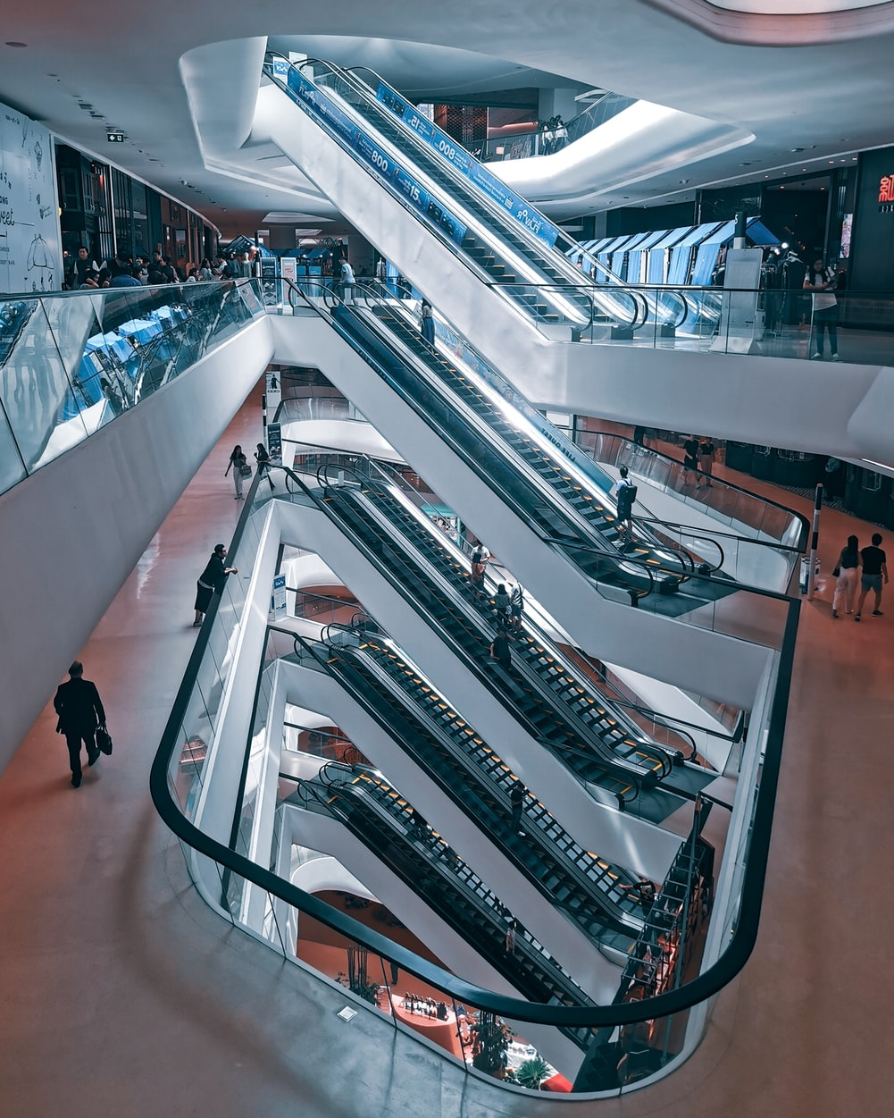 Levels of escalators in a high-end shopping mall