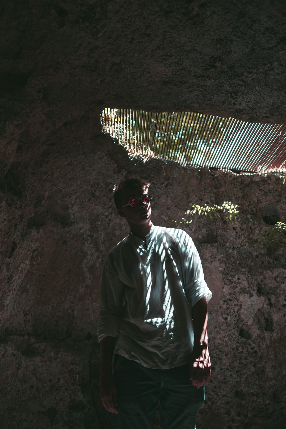 man in cave