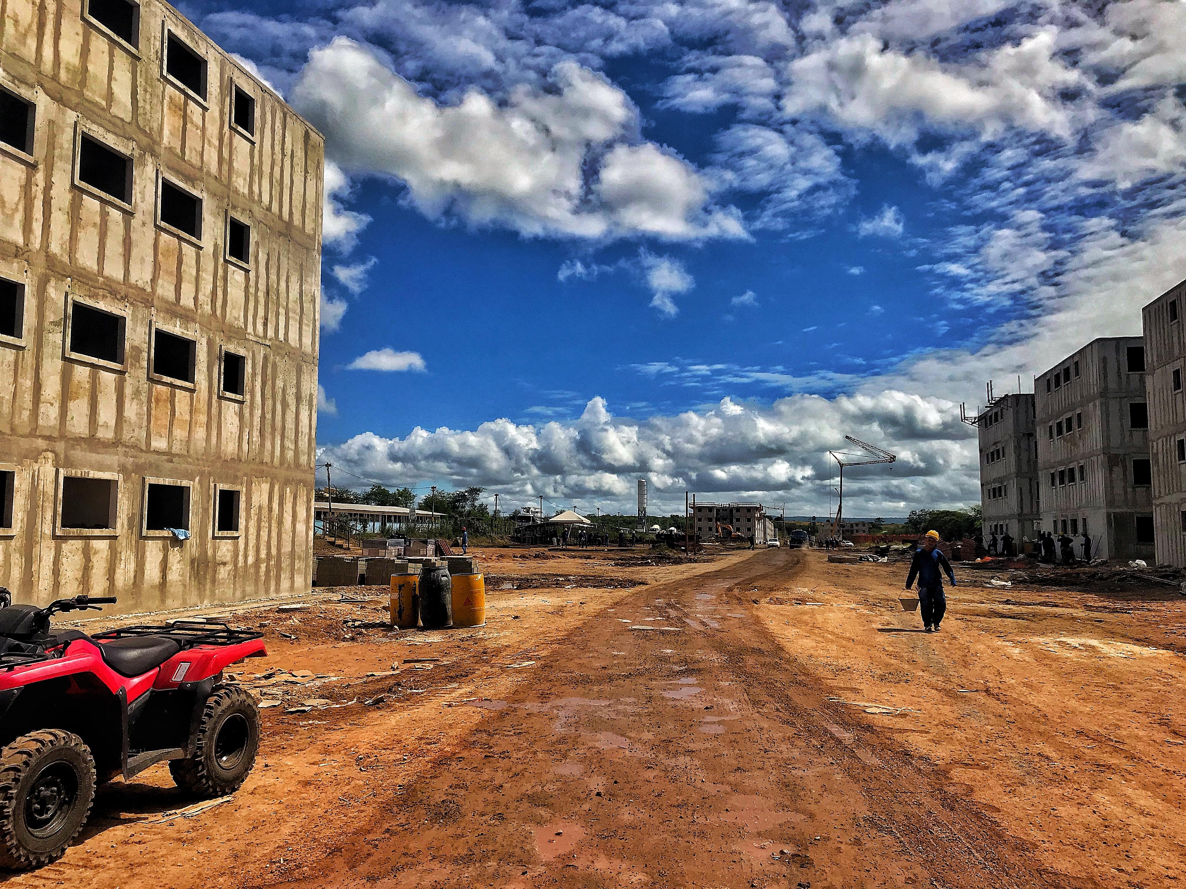 red ATV near building
