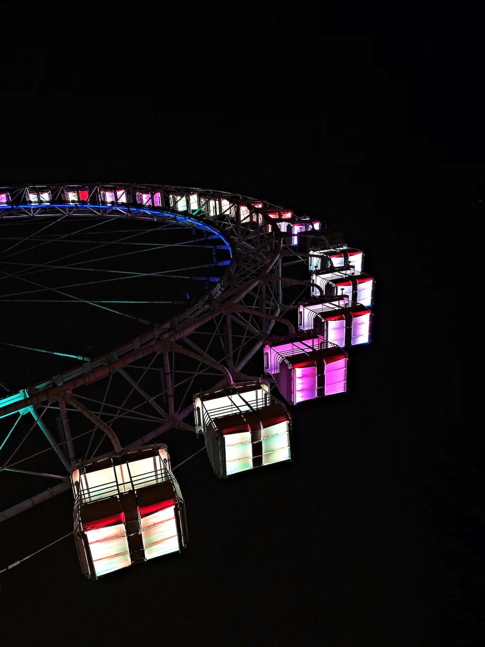 LED Ferris wheel during night