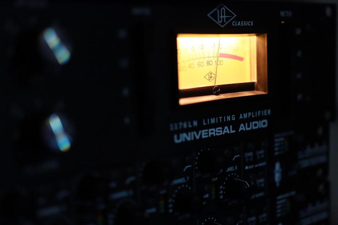 UA Universal Audio 1176 compressor. Music studio gear.
