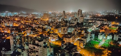 Airoli aerial view of buildings during nighttime