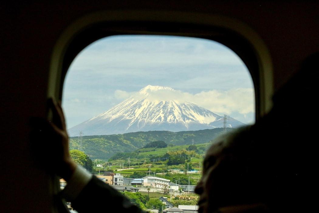 Mt. Fuji through an airplane window