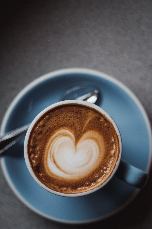 cappuccino in blue ceramic mug