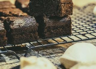 brownies on grey tray