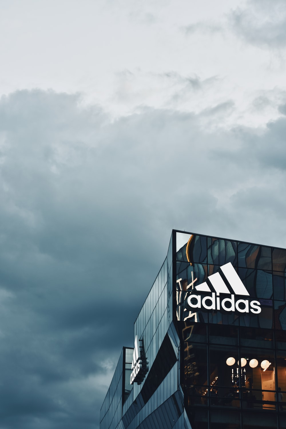 black and white Adidas building