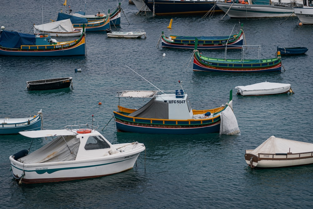 assorted-color boats
