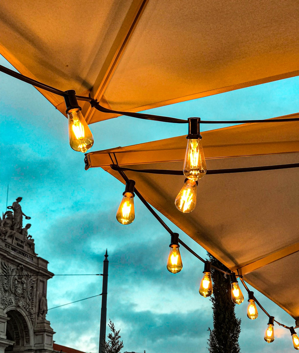 lighted yellow pendant lamps