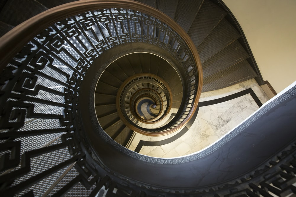 spiral brown staircase