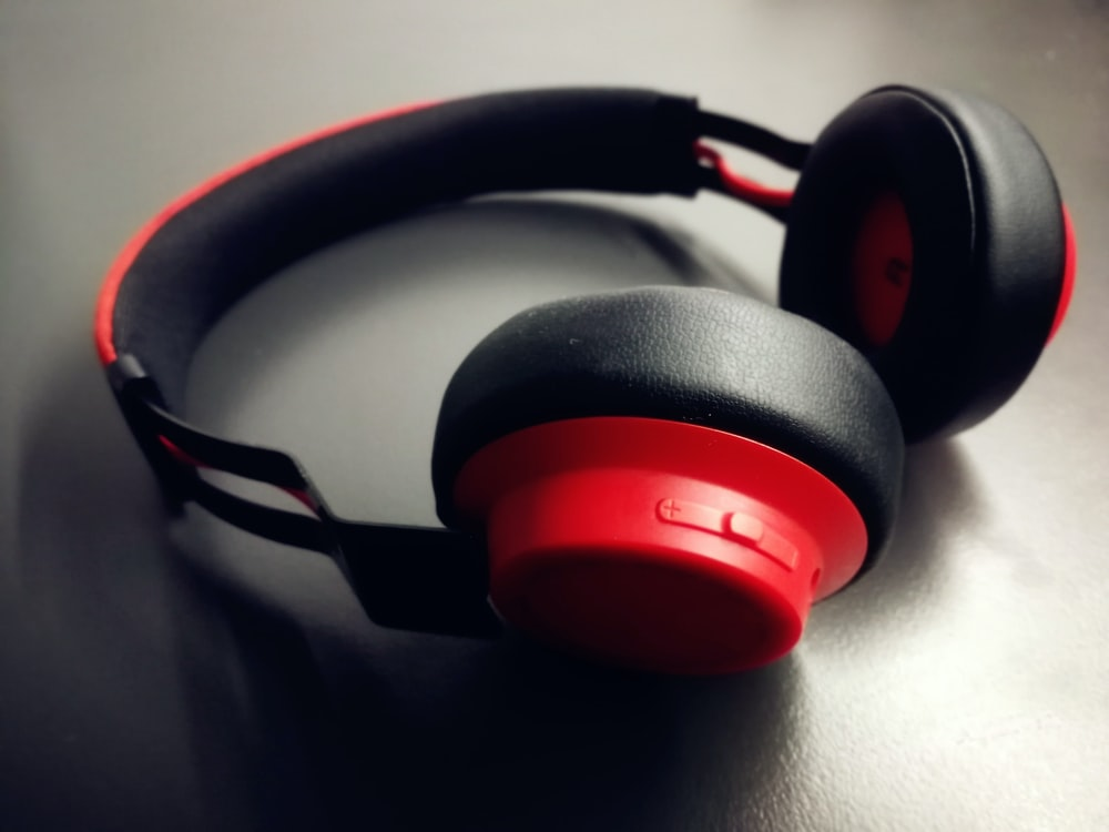 red and black cordless headphones