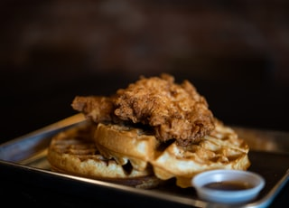 waffle with fried chicken on top