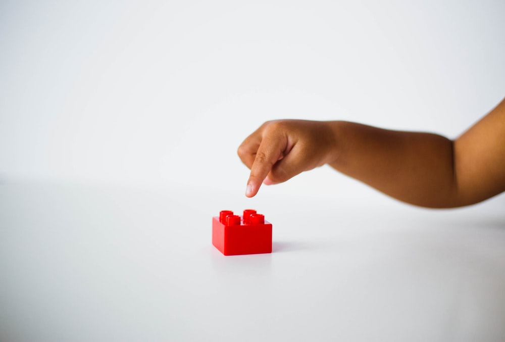 child pointing to red interlocking brick toy