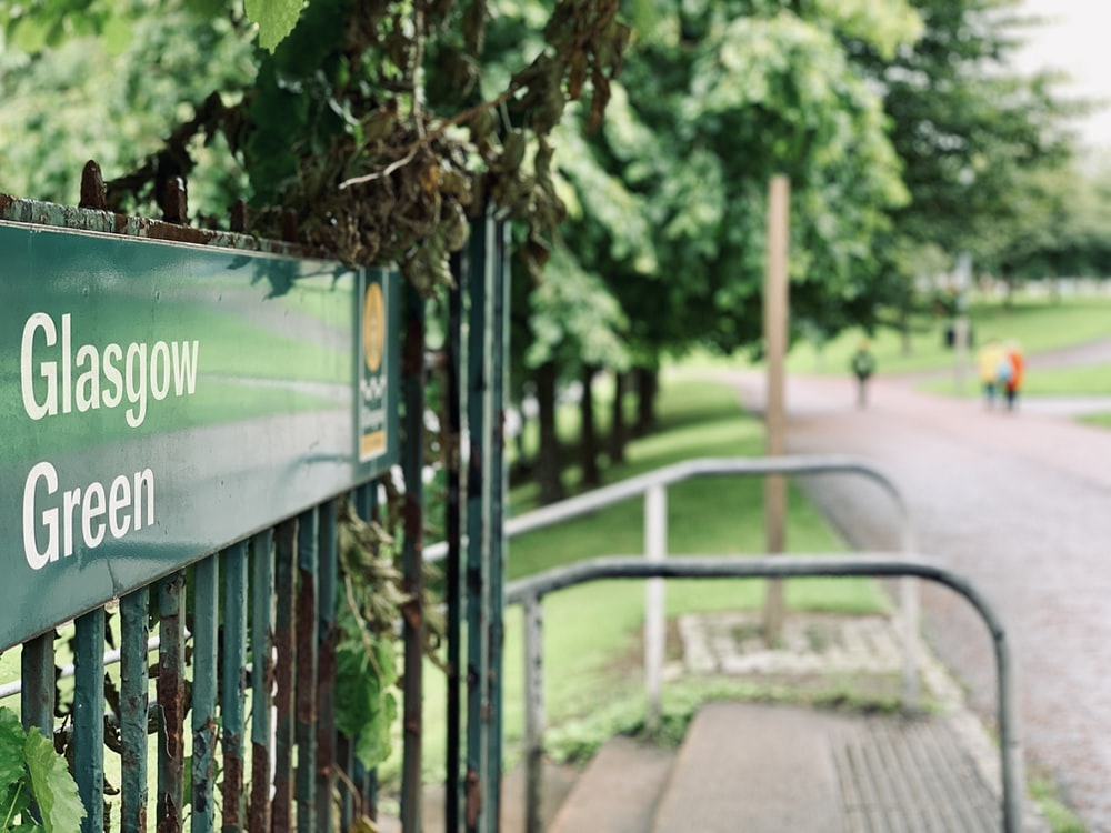 Glasgow Green signboard close-up photography