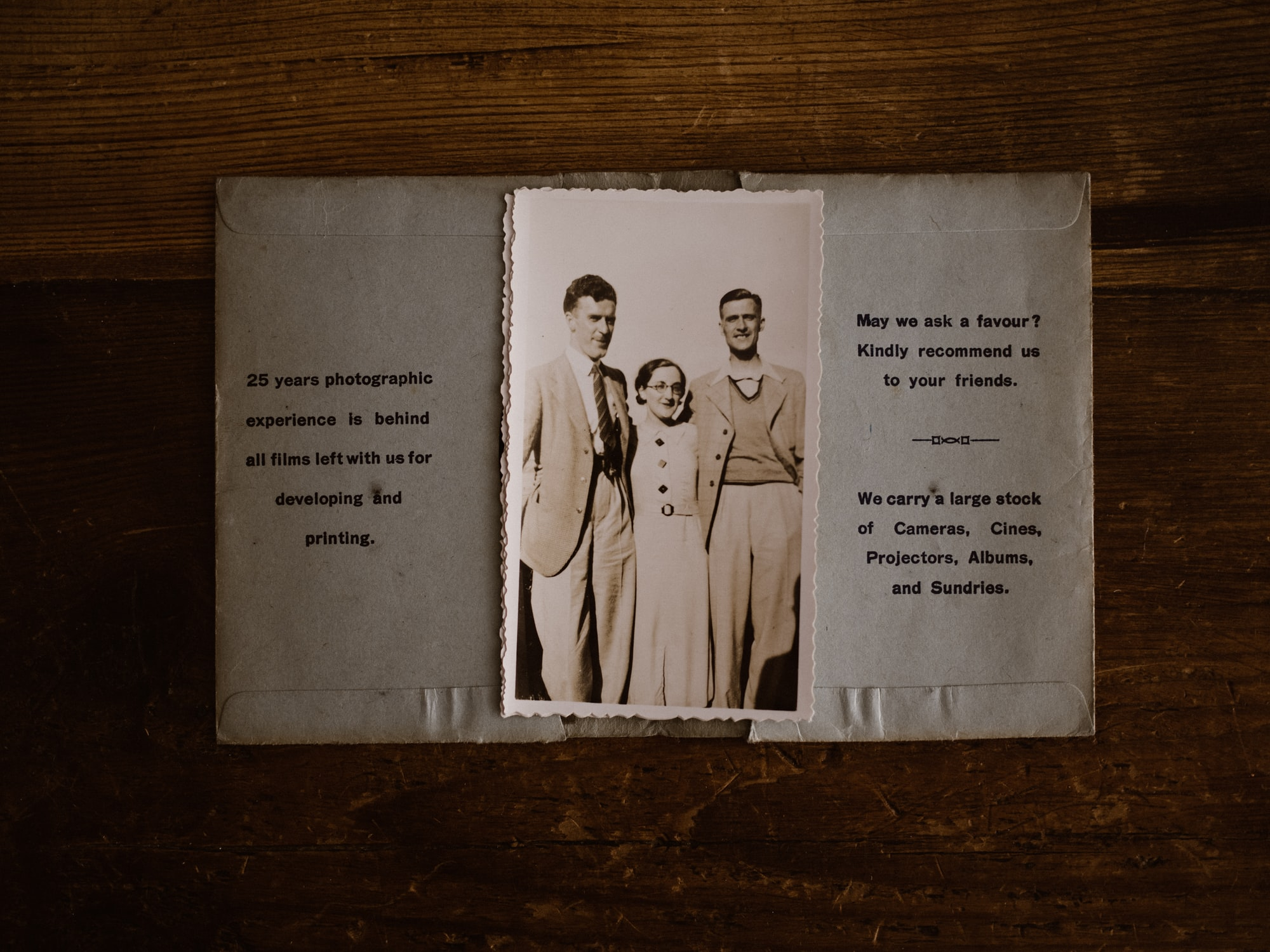 Vintage photograph in envelope