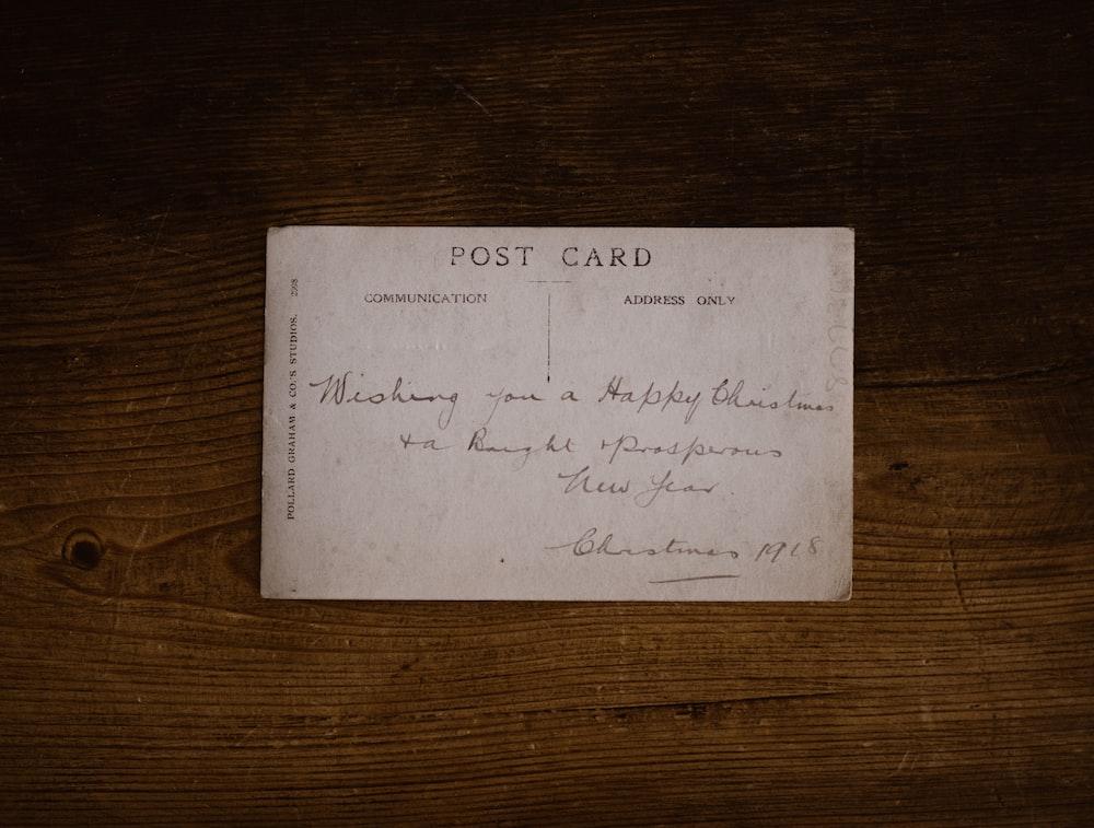 white post card