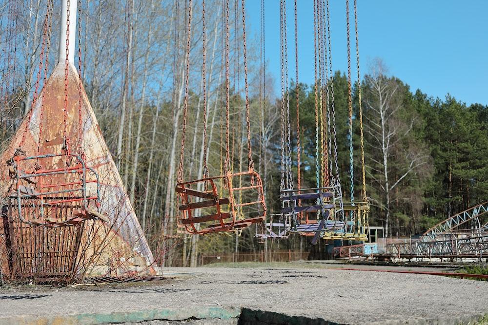 empty metal swings