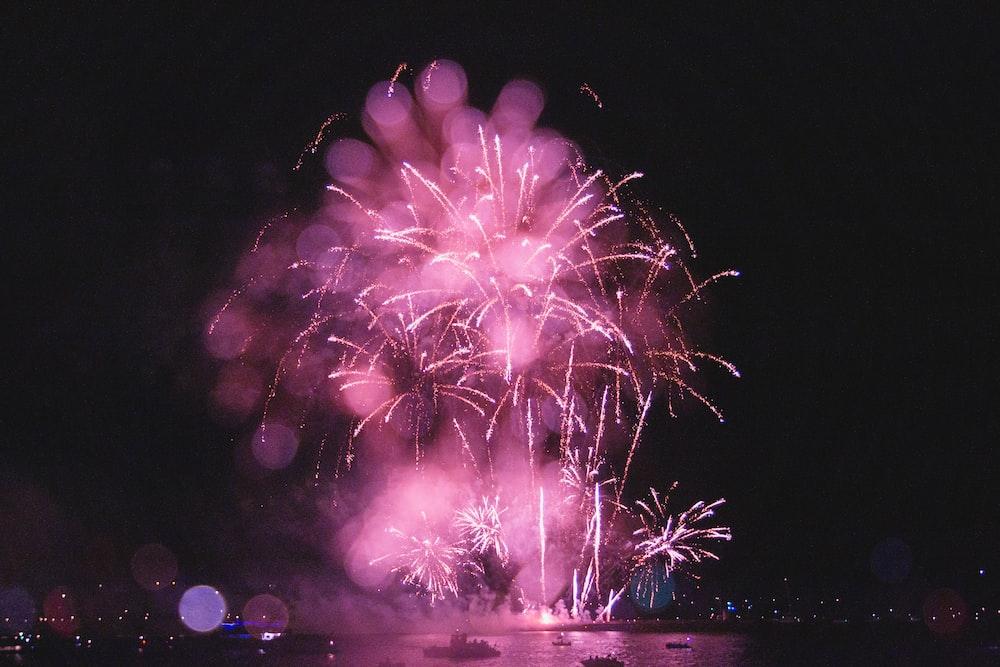 fireworks displaying nighttime near city