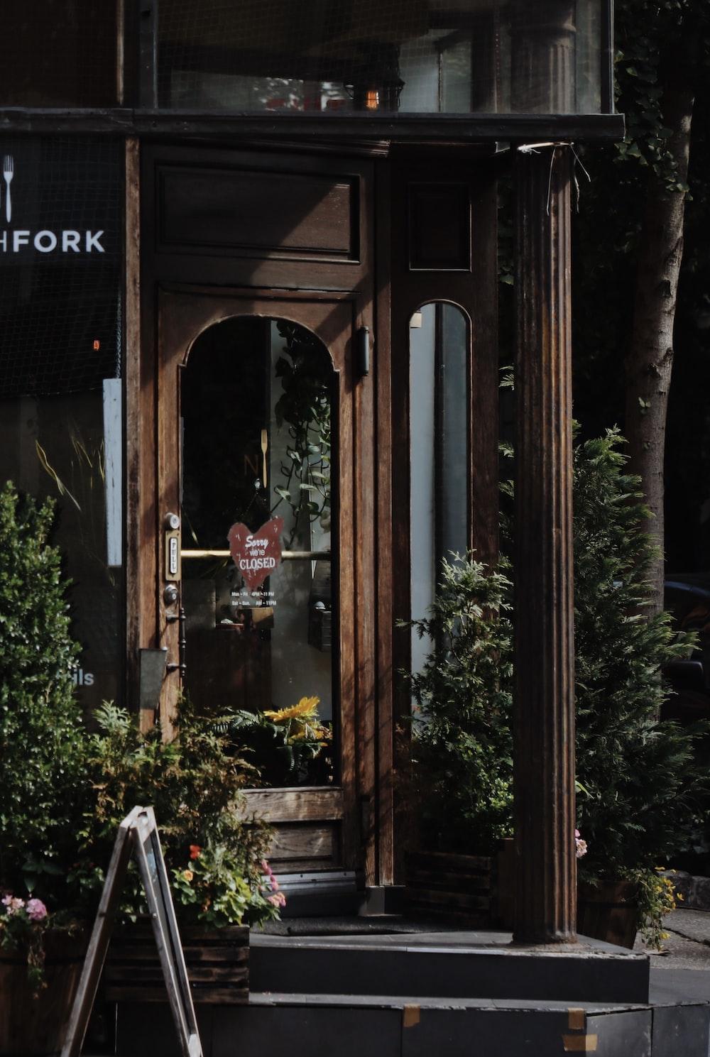 brown wooden restaurant door