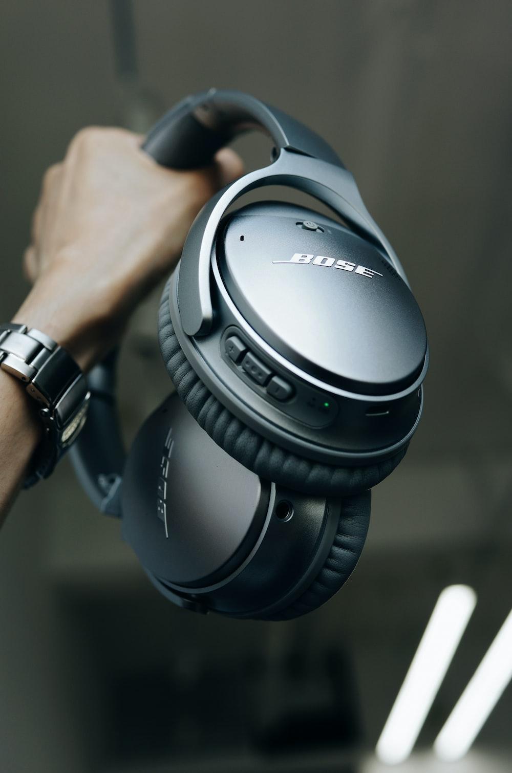 black Bose cordless headphones
