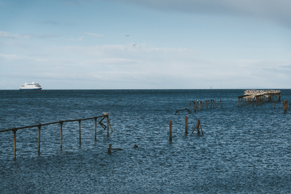 wrecked wooden dock