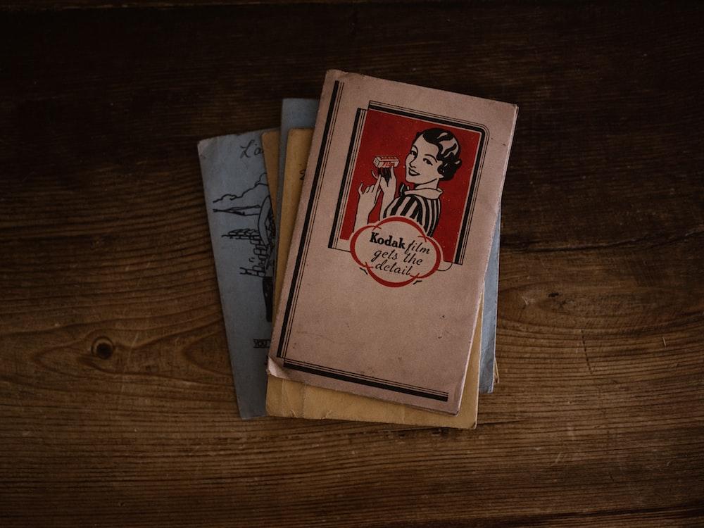 brown and red Kodak book