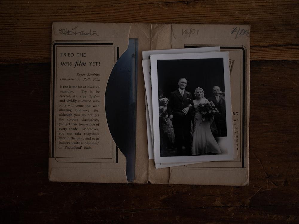 wedding photo on book