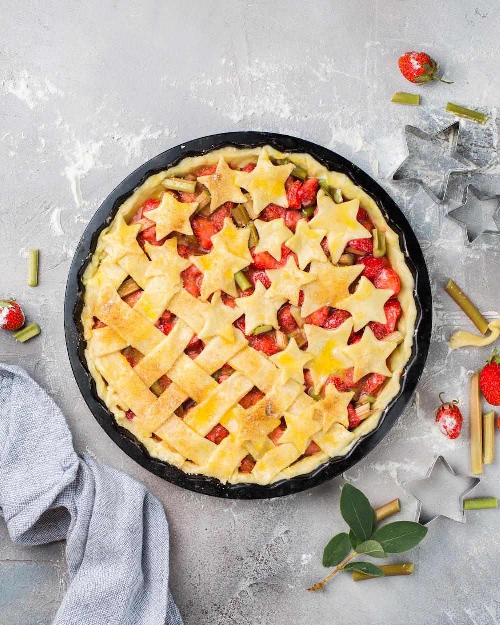 round strawberry pie on tray