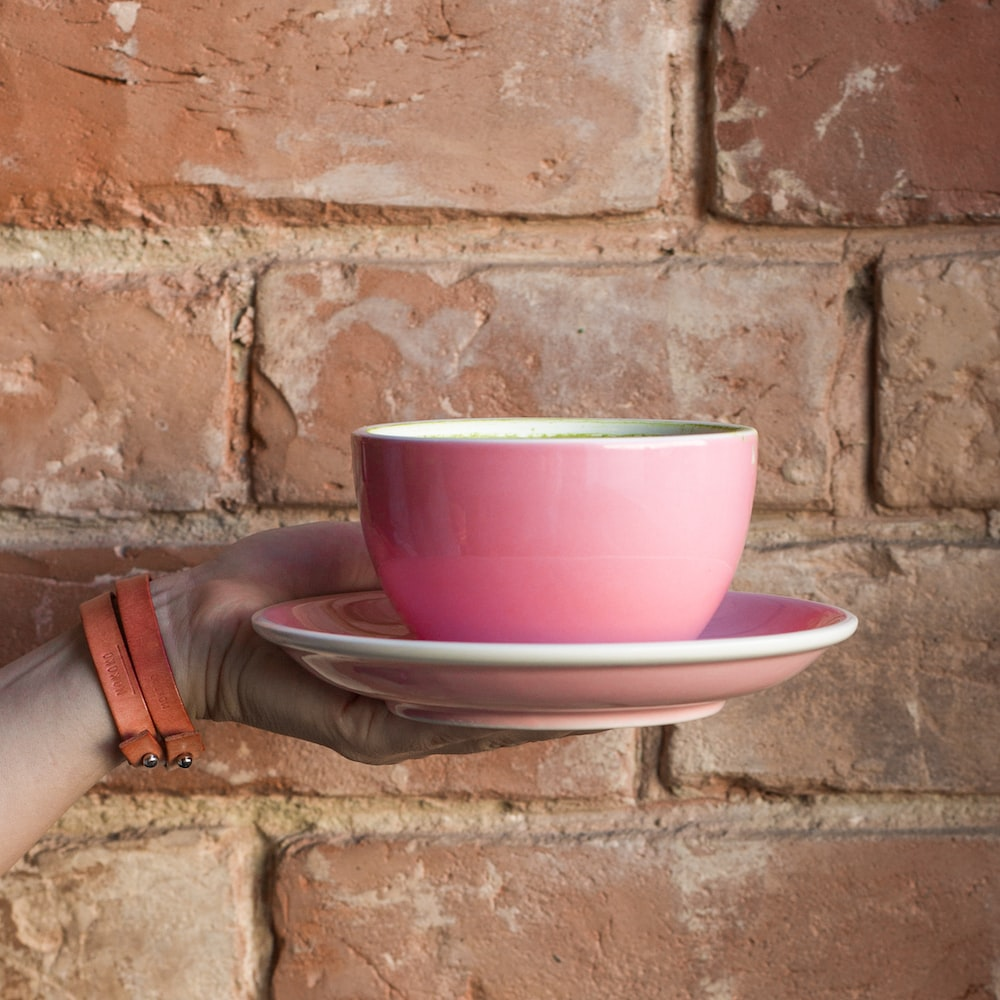 pink bowl on plate