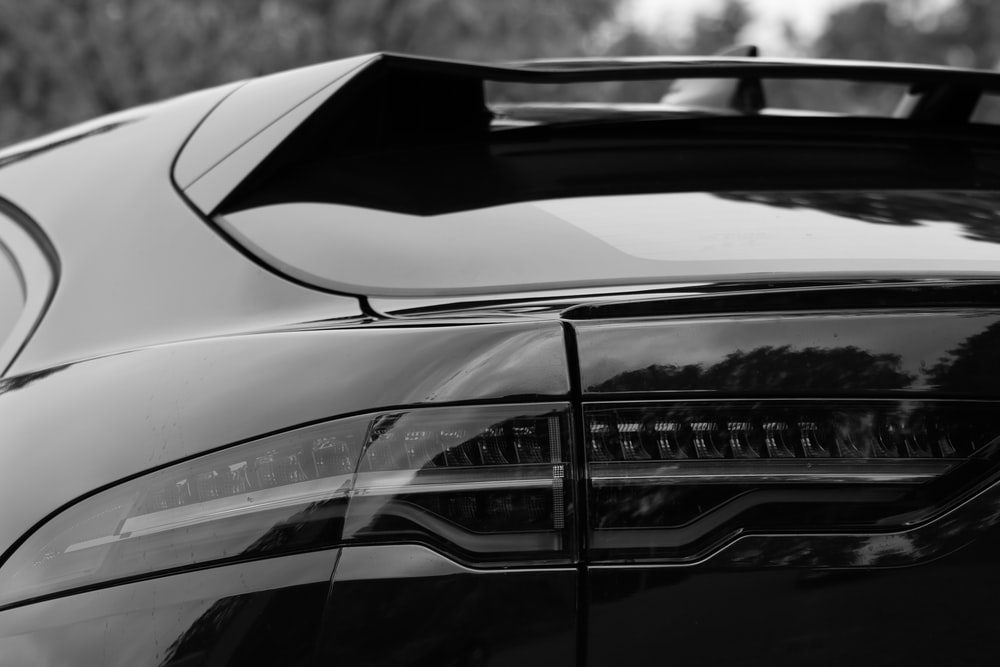 greyscale photo of coupe