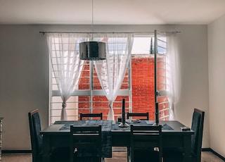 black wooden 7-piece dining set