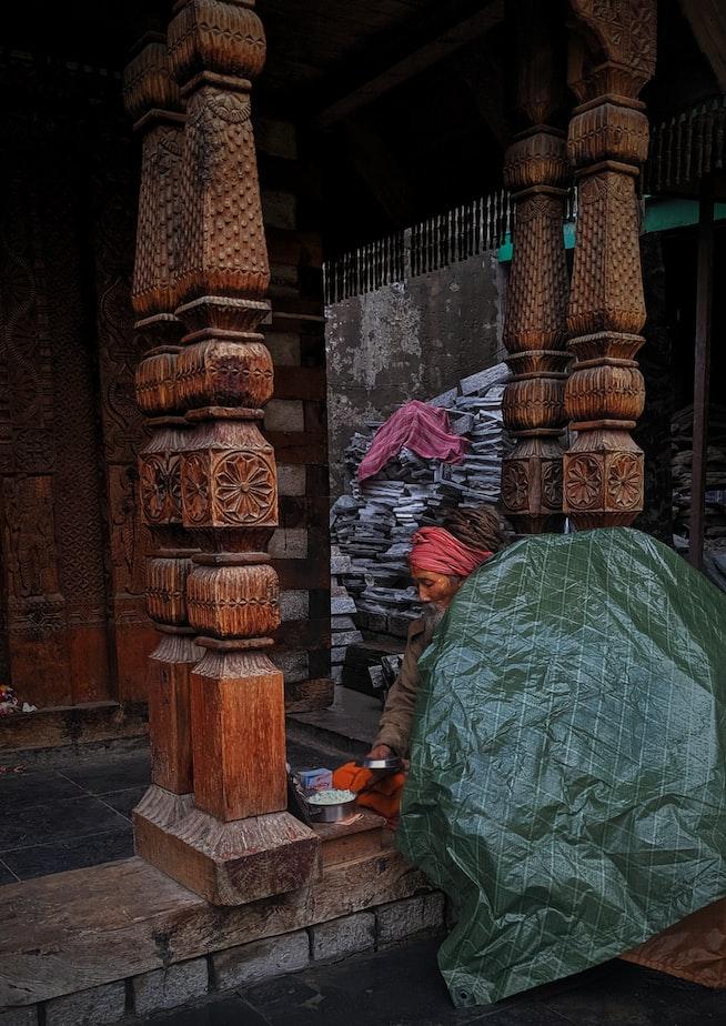 Oldman in hindu temple of Arunachal