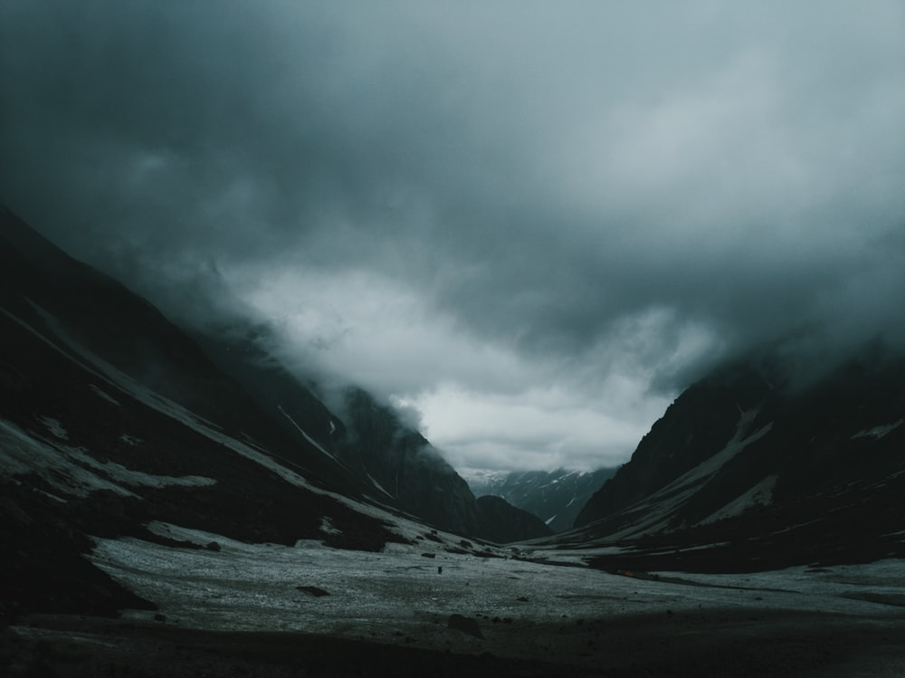 land in between mountain