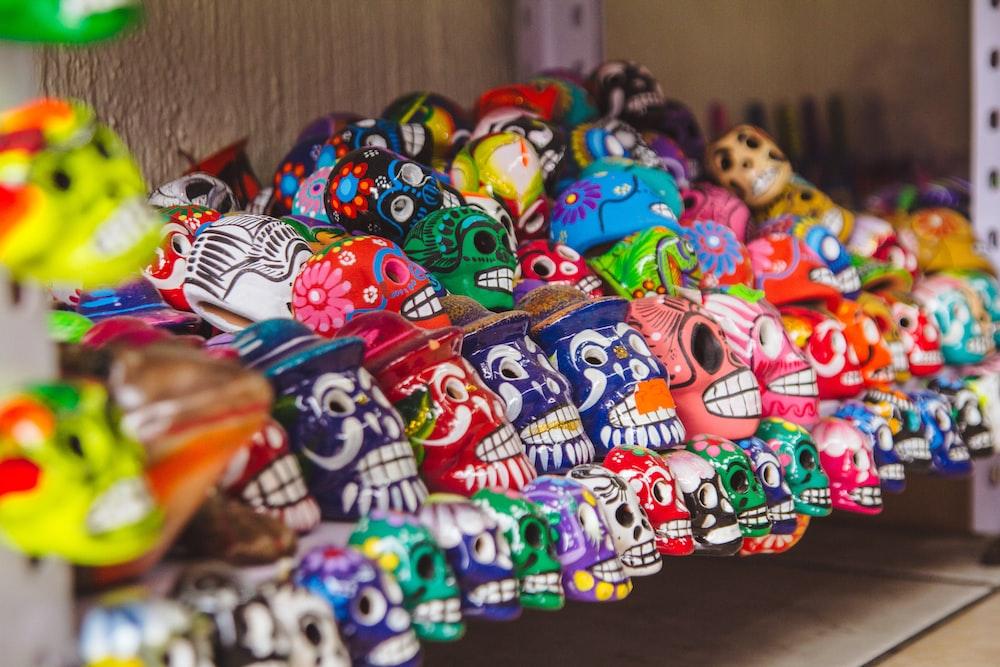 assorted-color sugar skull lot