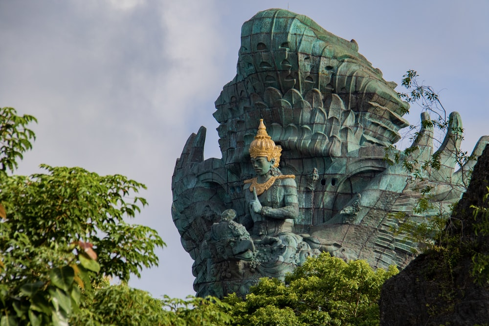 Buddha statues near trees
